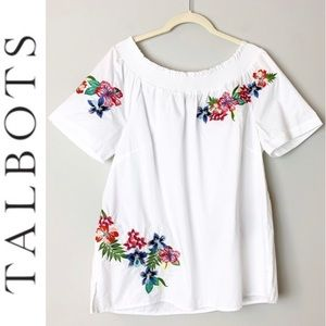 Talbots Off The Shoulder Embroidered Flowe…